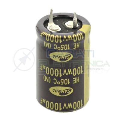 Condensatore elettrolitico SNAP IN 1000uF 100V 105° 35X22mm Samwha 2,49€