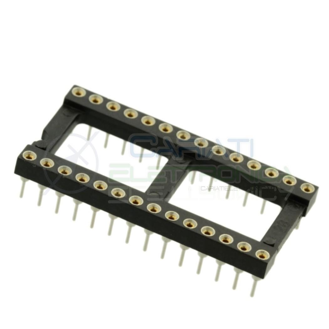 Zoccolo adattatore innesto tornito DIL DIP 28 pin THT passo 2,54mm Preci-dip