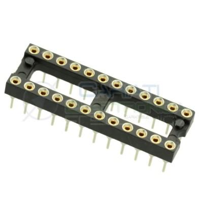 Zoccolo adattatore innesto tornito DIL DIP 24 pin THT passo 2,54mm  1,00€