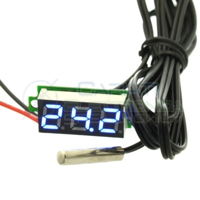 MINI TERMOMETRO DIGITALE da PANNELLO LED BLU 0-100°C NTC 12V 24V DC Generico