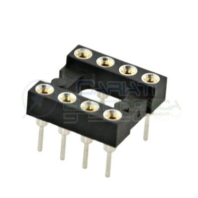 5 PEZZI Zoccolo adattatore tornito per circuito inegrato IC DIL DIP 8 pin THT passo 2,54mm