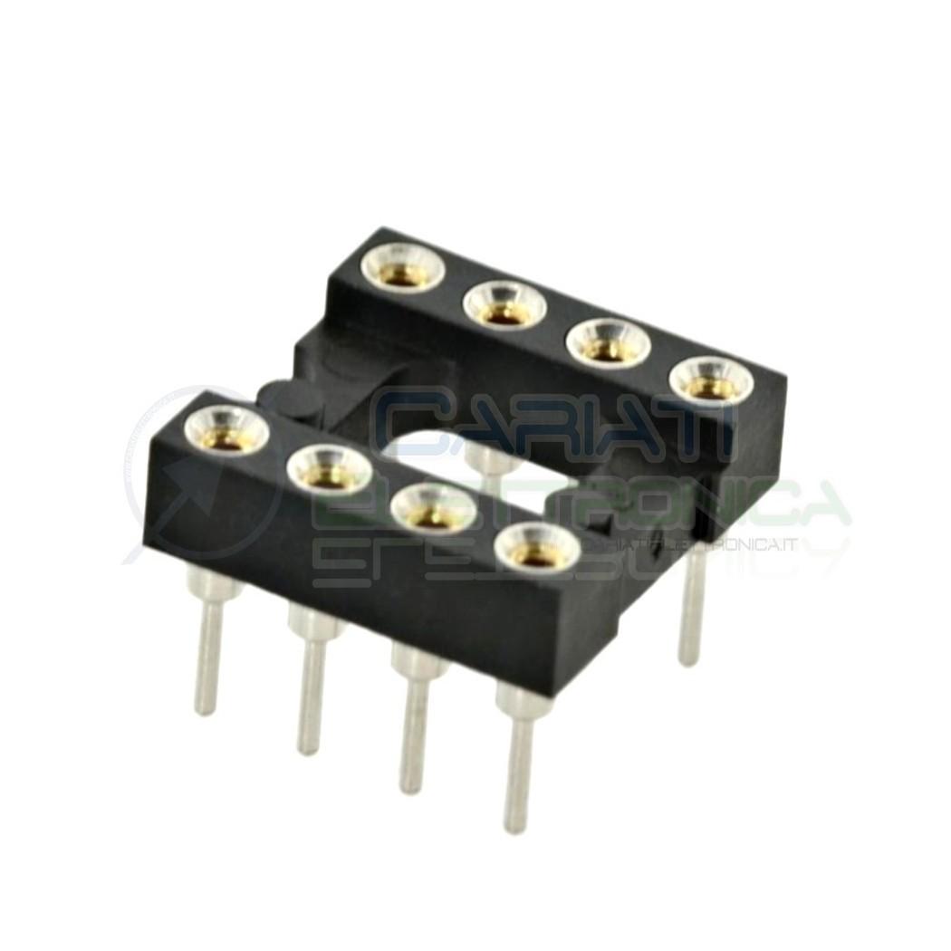 5 PEZZI Zoccolo adattatore tornito per circuito inegrato IC DIL DIP 8 pin THT passo 2,54mm 1,00 €