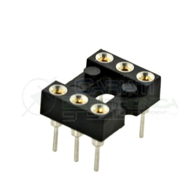 5 PEZZI Zoccolo adattatore tornito per circuito inegrato IC DIL DIP 6 pin THT passo 2,54mm