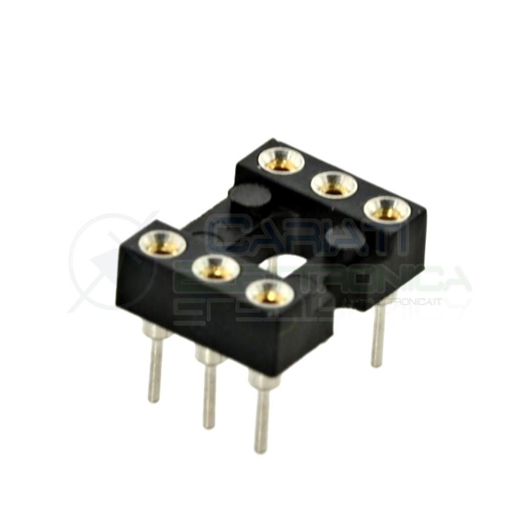 5 PEZZI Zoccolo adattatore tornito per circuito inegrato IC DIL DIP 6 pin THT passo 2,54mm 1,00 €