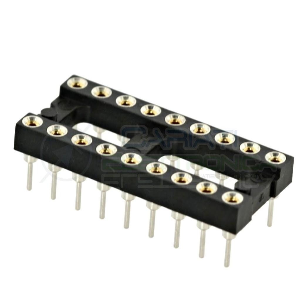2 PEZZI Zoccolo adattatore tornito per circuito inegrato IC DIL DIP 18 pin THT passo 2,54mm 1,00 €