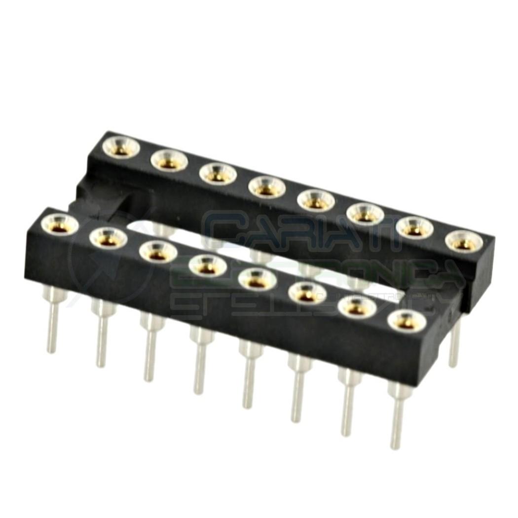 2 PEZZI Zoccolo adattatore tornito per circuito inegrato IC DIL DIP 16 pin THT passo 2,54mm 1,00 €