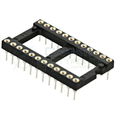 2 PEZZI Zoccolo adattatore tornito per circuito inegrato IC DIL DIP 24 pin THT passo 2,54mm