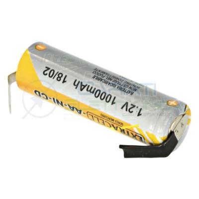 BATTERIA RICARICABILE NI-CD 1,2V 1000mAh AA STILO con terminali a saldare Extracell 1,09 €