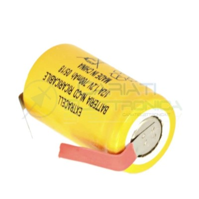 BATTERIA RICARICABILE NI-CD 1,2V 700mAh 1/2A 2/3AF con terminali a saldare Extracell