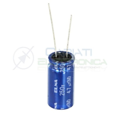 2 PEZZI Condensatore elettrolitico ELNA 47uF 250V 85°C 12X25mm Elna 1,00€