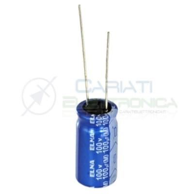 5 PEZZI Condensatore elettrolitico ELNA 100uF 100V 85°C 10X20mm Elna