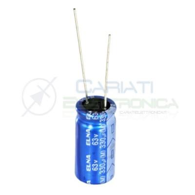 5 PEZZI Condensatore elettrolitico ELNA 330uF 63V 85°C 10X20mm Elna