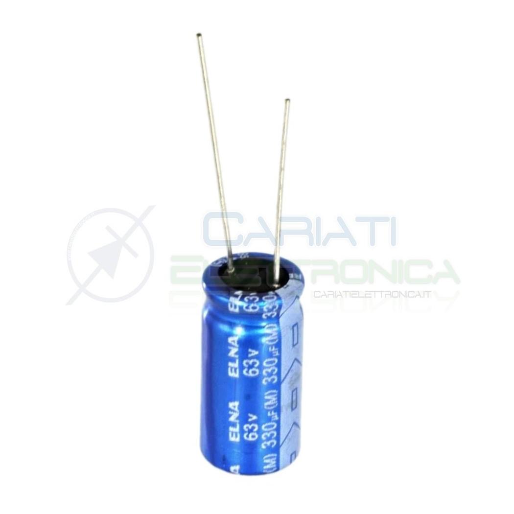 5 PEZZI Condensatore elettrolitico ELNA 330uF 63V 85°C 10X20mm