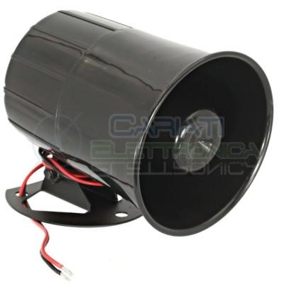 Sirena elettronica 6 toni 12V 20W allarme antifurto segnalatore acustico