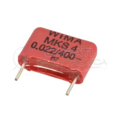 2 PEZZI Condensatore in poliestere WIMA 22nF 400V Passo 10mm 10% MKS4