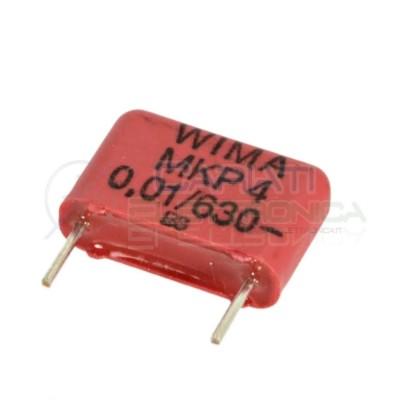 2 Pezzi Condensatore 10nF 630V in poliestere WIMA Passo 10mm 10% MKP4 Wima