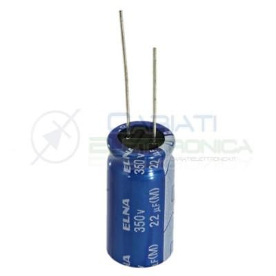 2 PEZZI Condensatore elettrolitico ELNA 22uF 350V 85°C 12X25mm Elna