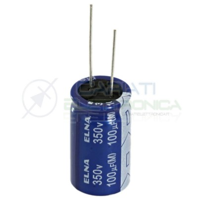 Condensatore elettrolitico ELNA 100uF 350V 85°C 18X31mm PASSO 7,5mm Elna