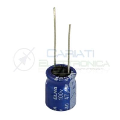 5 PEZZI Condensatore elettrolitico ELNA 47uF 100V 85°C 10X12mm PASSO 5mm Elna