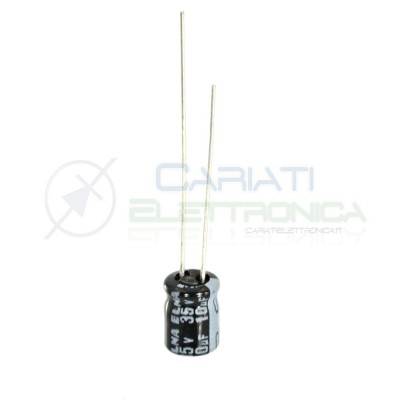 10 PEZZI Condensatore elettrolitico ELNA 10uF 35V 85°C 5X7mm PASSO 2.54mm Elna