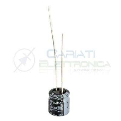 10 PEZZI Condensatore elettrolitico ELNA 100uF 16V 85°C 7X6mm PASSO 2,54mm Elna