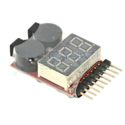Tester per pacchi batteria LiPo Li-ion LiMn Li-Fe 1-8s con buzzer per allarme bassa tensione