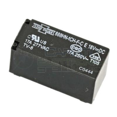 Relè doppio 2 scambio 888HN-1CH-F-C Song Chuan Bobina 18V DC 17A 250V DPDT