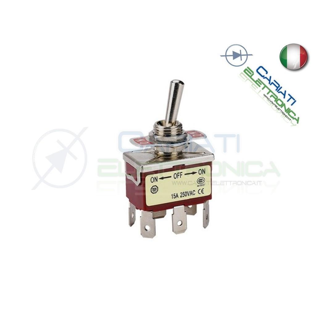 5 PEZZI Interruttore Deviatore a Leva DPDT ON OFF ON 15A 250V 6 Pin