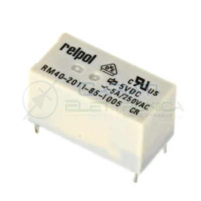 Relè singolo scambio RELPOL RM40-2011-85-1005 bobina 5V SPDT 5 pin 5A 250VAC 30VDC Omron 2,70€
