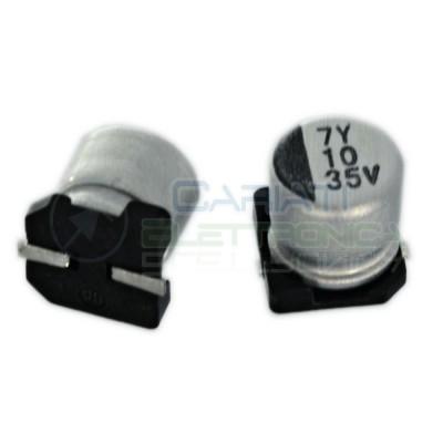 20 PEZZI Condensatore elettrolitico in SMD 10uF 35V 20% 5x5mm 85°C SAMWHA 10 uF  0,90€