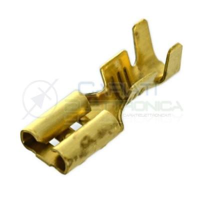 50 Pezzi Connettore Faston 4,8mm Femmina a crimpare da 4,8mmx0,5mm per cavo 0,5-2mm2