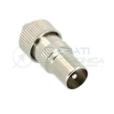 2 PEZZI Connettore Giunto Spina in metallo per cavo coassiale da 9,5mm antenna TV SAT