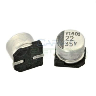 20 PEZZI Condensatore elettrolitico in SMD 22uF 35V 20% 6x5mm 85°C SAMWHA 22 uF  0,95€