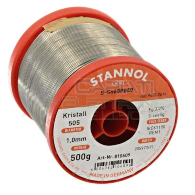 STAGNO STANNOL 500gr Diamentro 1mm Sn 60 Pb 40 60-40 flux 3% 60/40 BOBINA ROTOLO Stannol 27,99€