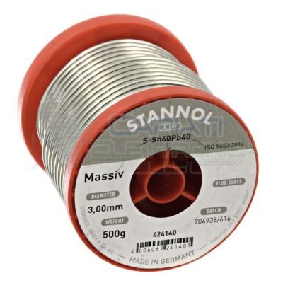 500g Stagno STANNOL D. 3mm 60/40 Sn 60 Pb 40 60-40 Bobina rotolo 0,5 kg Stannol