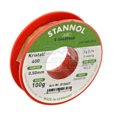 100g Stagno STANNOL D. 0.5mm 60/40 flux 2,2% Sn 60 Pb 40 60-40 Bobina rotolo Stannol
