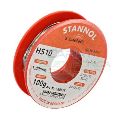 100g Stagno Stannol 1mm 60/40 flux 2,5% Sn 60 Pb 40 60-40 60/40 Bobina rotolo Stannol