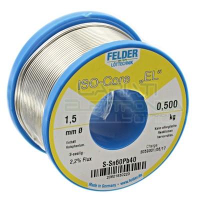 500g Stagno saldatura Felder 1,5mm 60/40 flux 2.2% Sn 60 Pb 40 60-40 Bobina Rotolo 0.5 kg Felder
