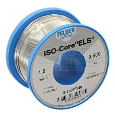 500g Stagno FELDER D. 1mm 60/40 Flux 1% Sn 60 Pb 40 60-40 Bobina rotolo 0,5 kg Felder
