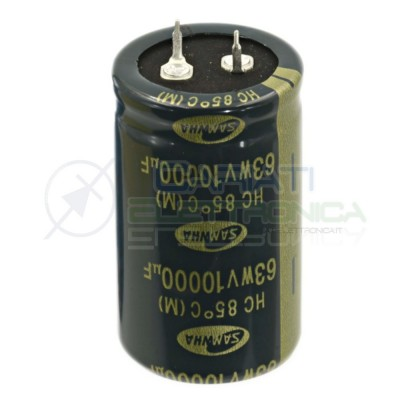 Capacitor electrolytic SNAP-IN 10000uF 63V 30x50 85° contact pitch 10mm SAMWHASamwha