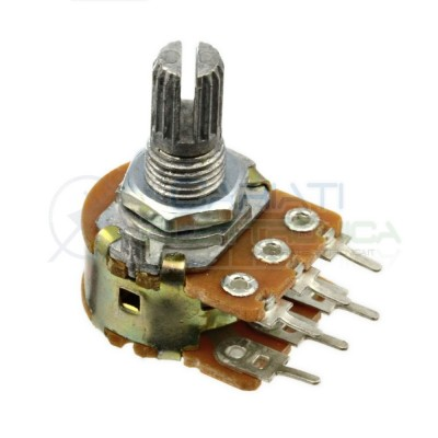 Potentiometer 10Kohm A10K single turn logarithmic shaft 15mm 10 Kohm 6 pins
