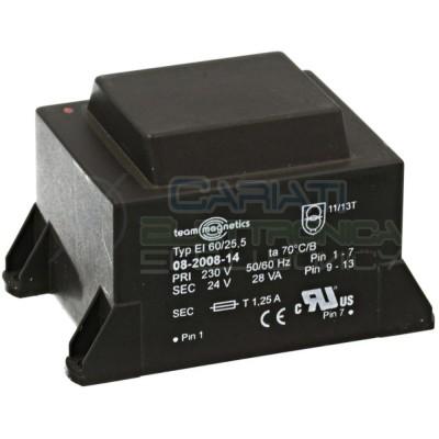 Trasformatore alimentatore incapsulato 28VA 24Vdc Ingresso 230V Ac Uscita 1x24V DC