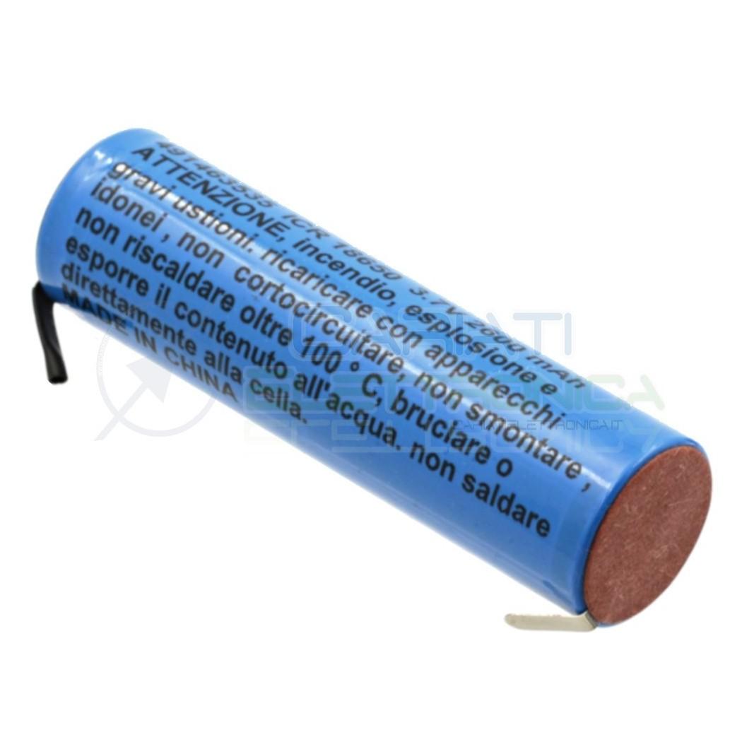 Batteria 18650 ricaricabile pila 18650 2600mah 3.7v li-ion MKC con terminali a saldare MKC