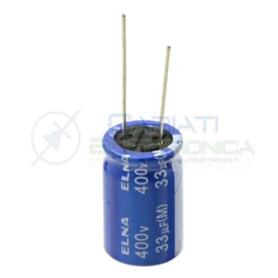 Condensatore Elelettrolitico 33 uF 33uF 400V 16X25 85° PASSO 7,5mm Elna Elna 0,79€