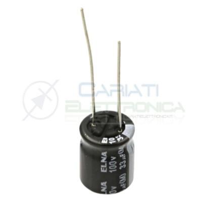 10 PEZZI Condensatore Elelettrolitico 33 uF 33uF 100V 10X12 85° PASSO 5mm Elna Elna