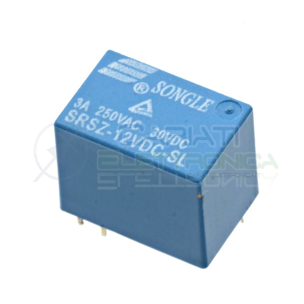 SRSZ-12VDC-SL Relay Relè 12V Dc 3A Singolo 1 Scambio Songle SPST PCB Songle