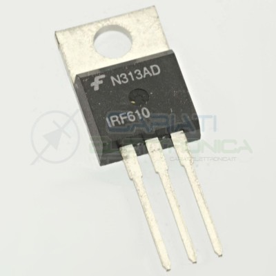 2 PEZZI TRANSISTOR MOSFET Fairchild IRF610 Canale N TO-220 3,3A 200V 36WATT
