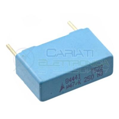 1 PEZZO Condensatore in Poliestere MKT 470nF 0.47uF 250V Passo 15mm 10%  0,79€