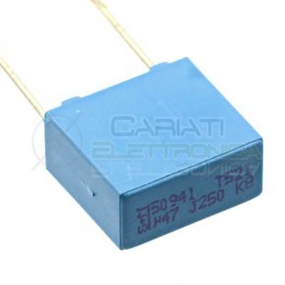 1 PEZZO Condensatore in Poliestere MKT 470nF 0.47uF 250V Passo 10mm 10%  0,79€