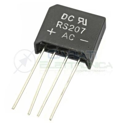 2 Pezzi Ponte raddrizzatore monofase RS207 1000V 2A DC COMPONENTS